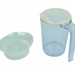 Clear Drinking Cup with handle & 2 lids